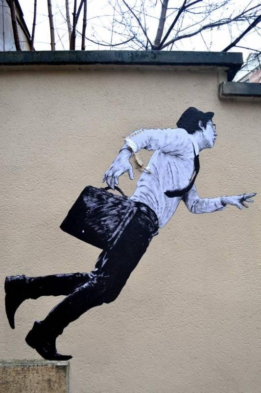 Oeuvre de Levalet - La Chute, Paris