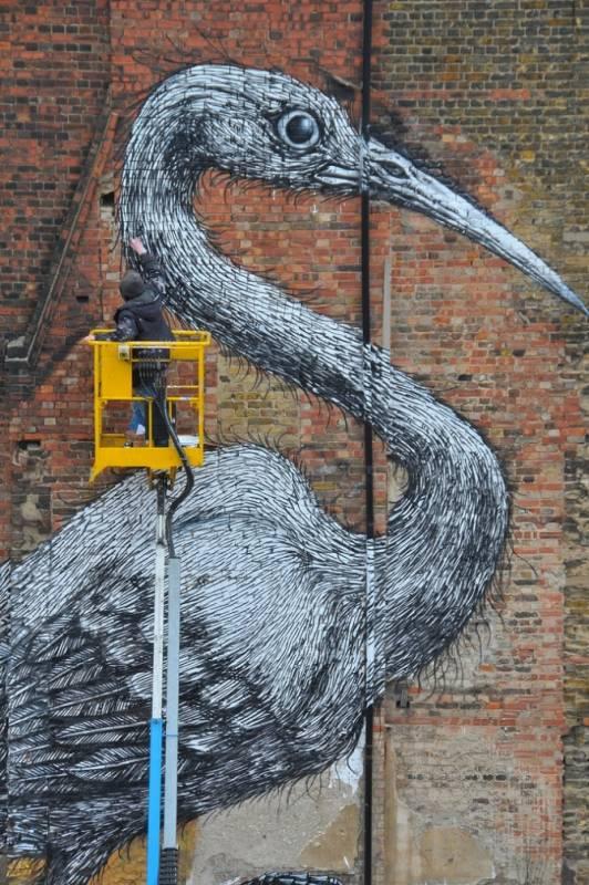 La Grue de ROA dans Hanbury Street, (Brick Lane), Londres