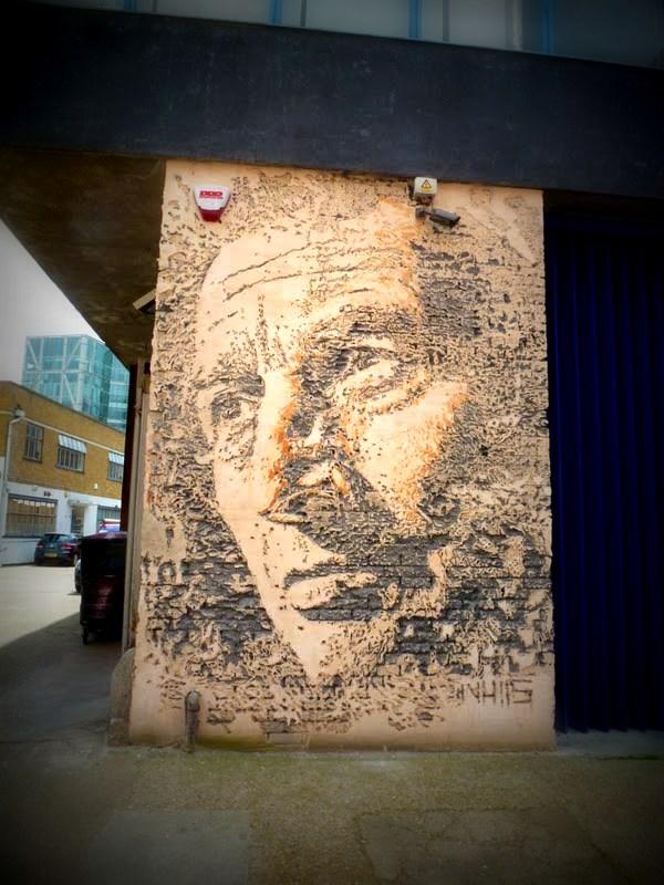 Vhils dans Shoreditch, Londres 2012 - mur complet