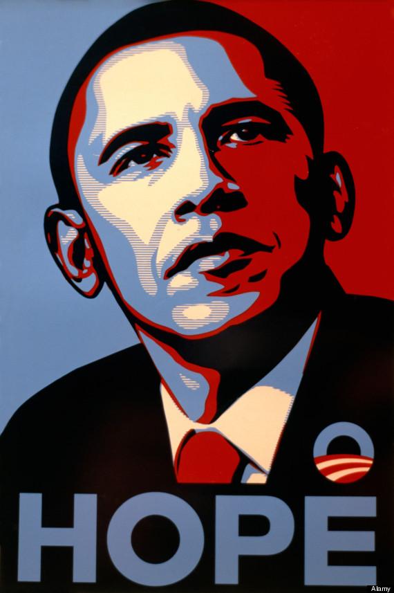 """""""Hope"""" portrait de Barack Obama par Obey Giant / Shepard Fairey"""