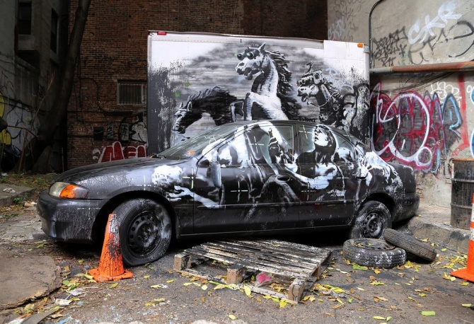 banksy - street art - better out than in - day 10 - new york city