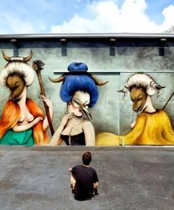 mur réalisé par la street artiste Miss Van, Miami Wynwood
