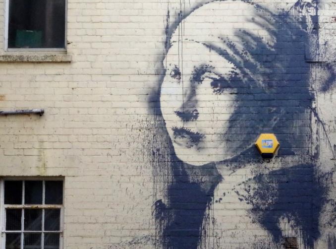 "Banksy /// ""The Girl With Pierced Eardrum"", Bristol"