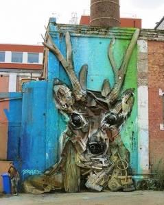 """Deer"" © Bordalo II // Nuart Festival 2015"
