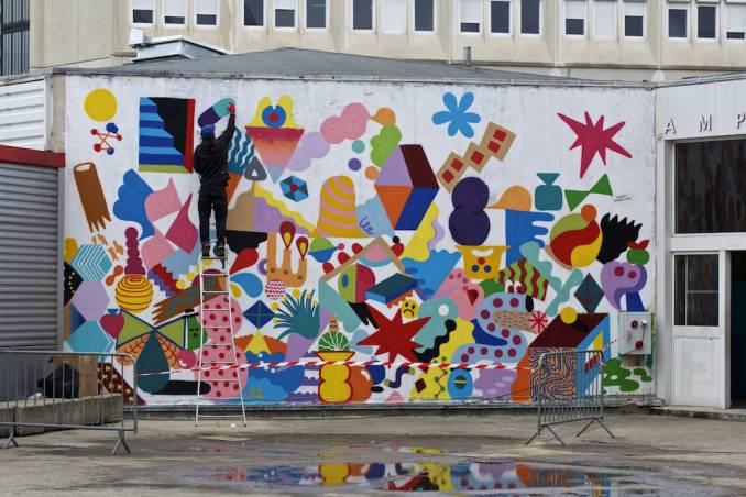 2Shy au travail (mur collectif 2Shy x Zosen x Mina Hamada)