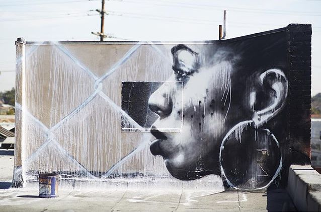 Christina Angelina - street art - Smile South Central - Los Angeles