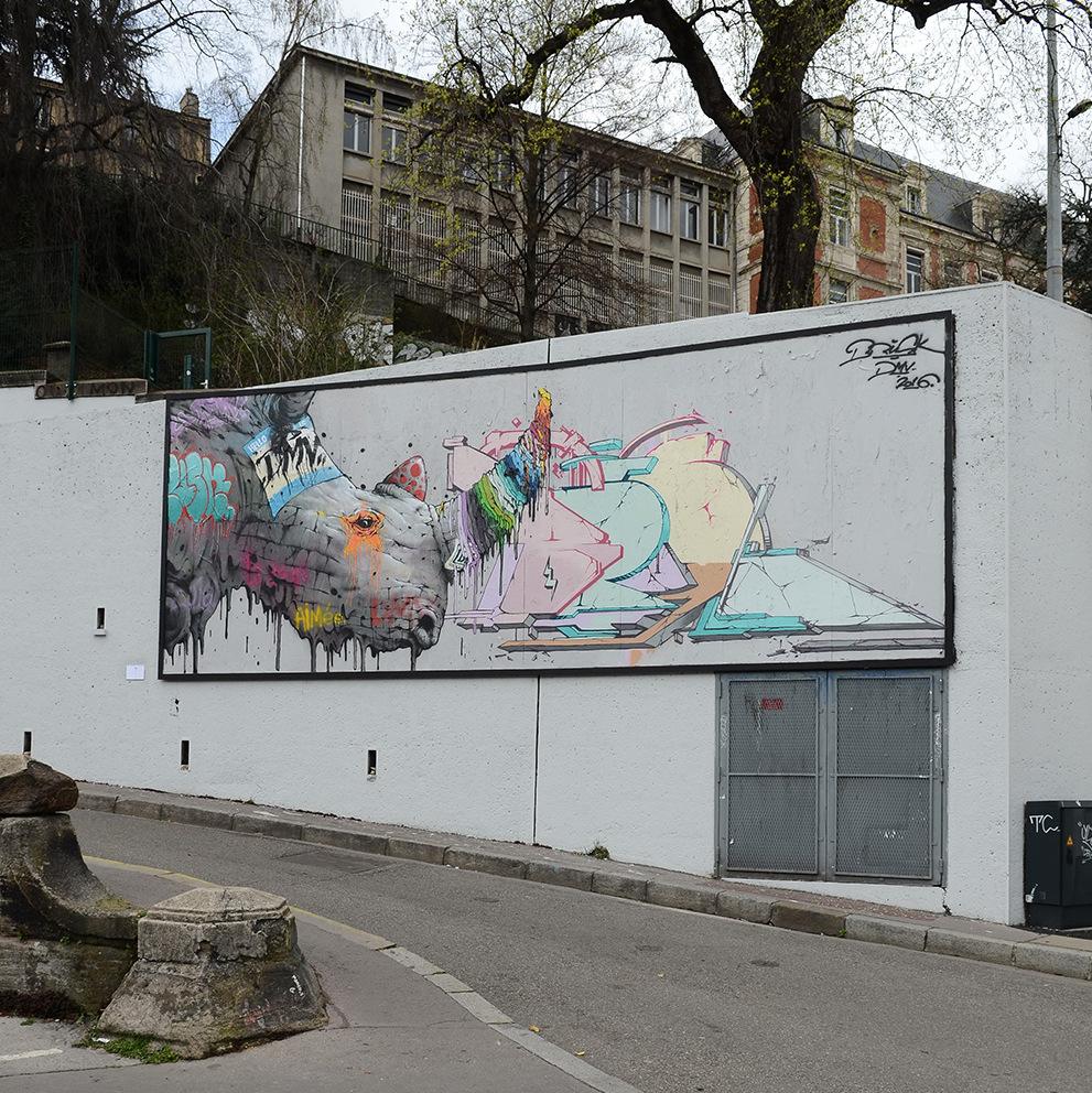 Brusk streetoc ros sur le mur saint etienne - Chambre des metiers st etienne ...