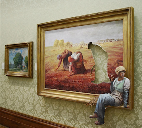 """Les Glaneuses"" Banksy (2008, Bristol City Museum)"