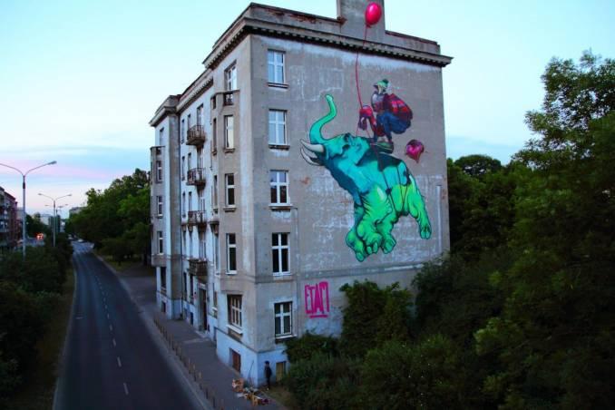 etam cru - street art - baloon - lodz -pologne