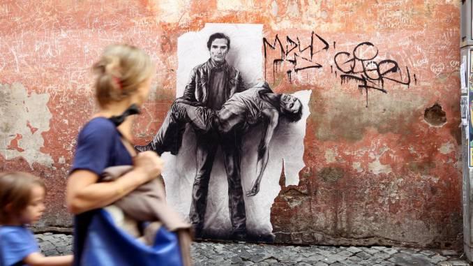 ernest pignon-ernest - street art - pasolini - italie