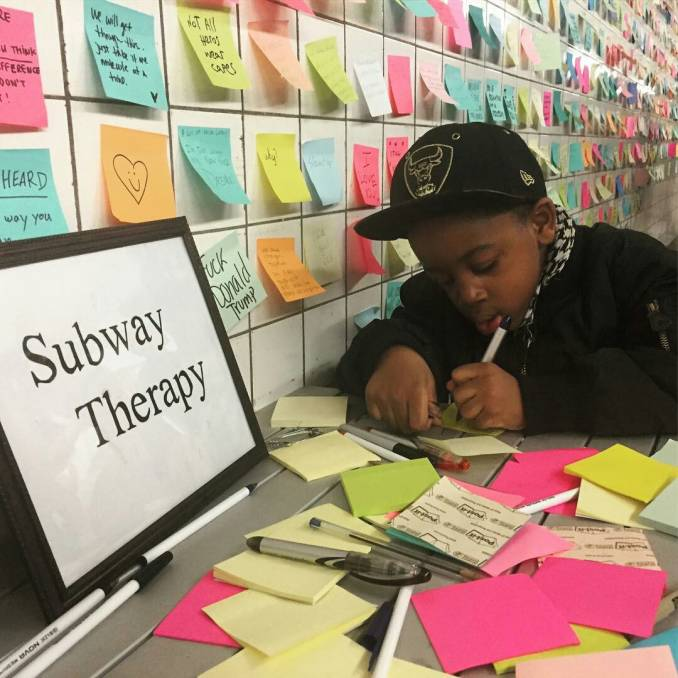 subway therapy - matthew chavez - levee - street art - new york