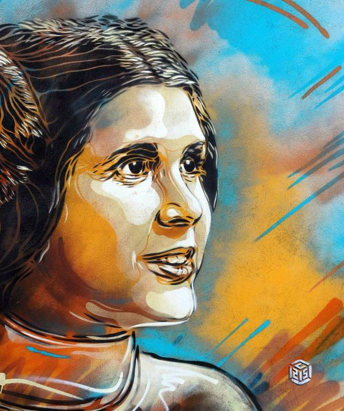 c215 - street art - princesse leia - carrie fisher