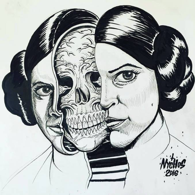 nychos - street art - princesse leia - carrie fisher