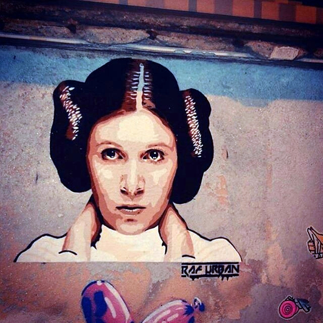 raf urban - street art - princesse leia - carrie fisher