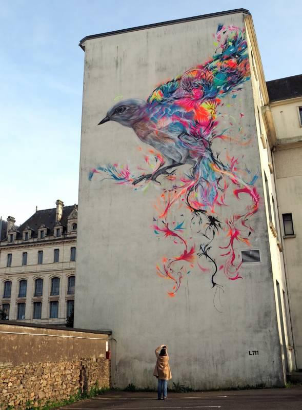 l7m - street art - collège jules simon - oiseau - vannes