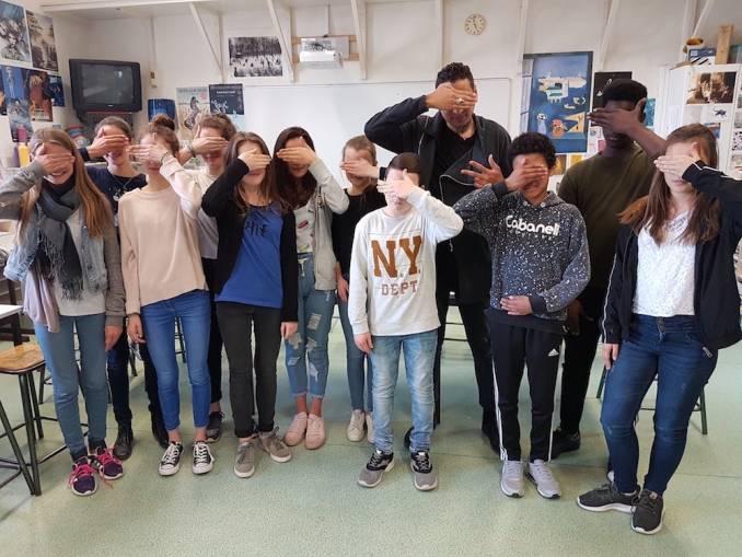 L7m et les élèves de la 4èmeA // photo mars 2017 @vidos - street-art-avenue