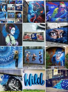 street art avenue - mosaic - patchwork - bleu electrique