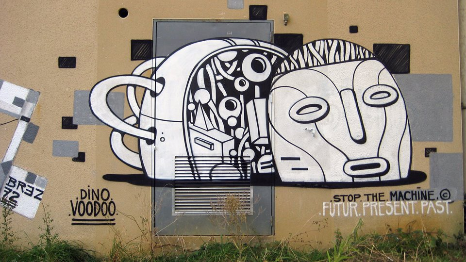 dino voodoo - street art - stop the machine rennes