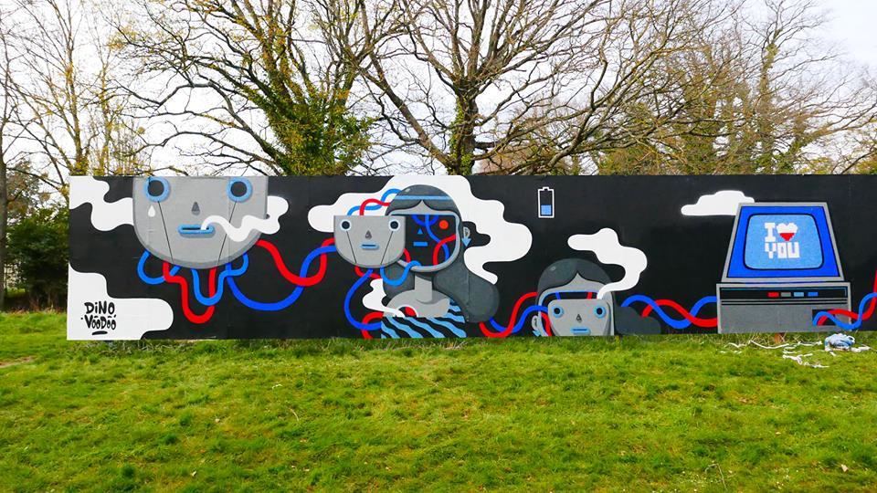 dino voodoo - street art - virtual lover