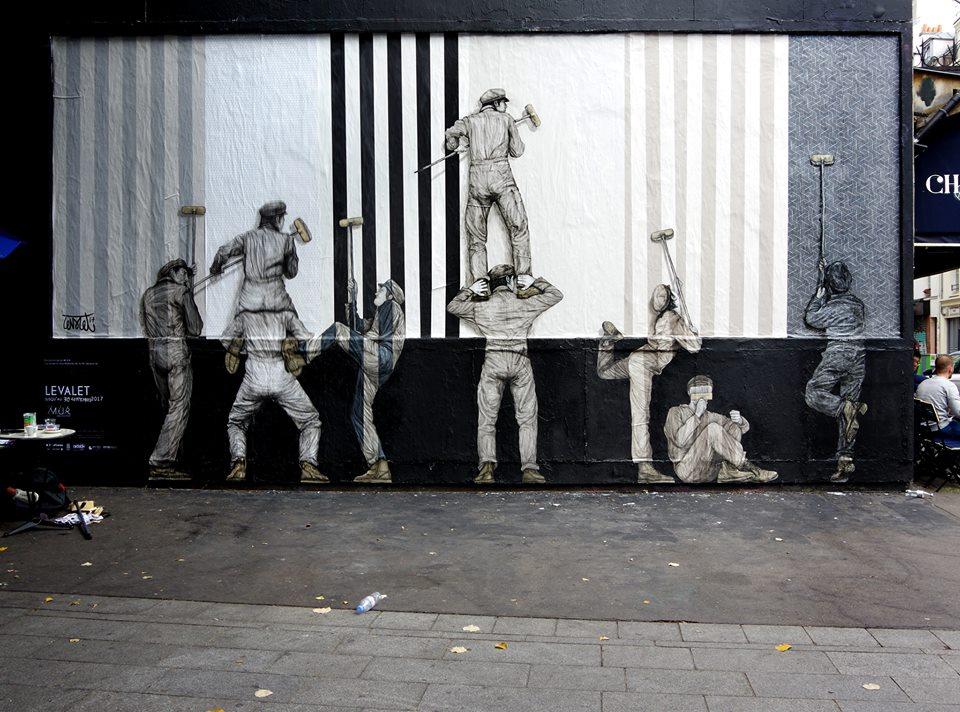 levalet - street art - territory - le mur oberkampf - paris
