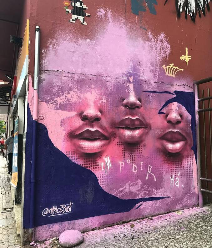 carlos bobi - street art avenue - pink mosaic - rio de janeiro