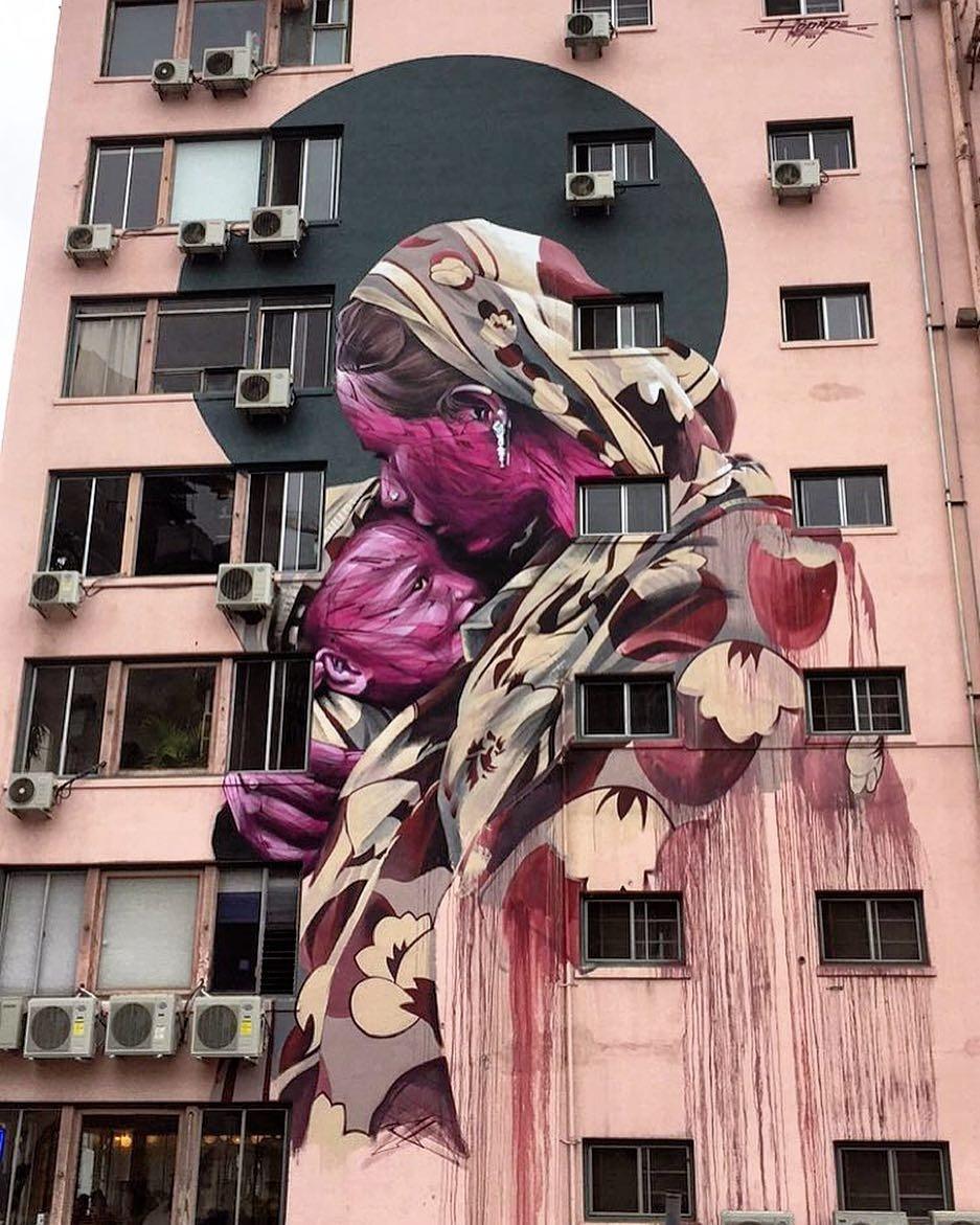 hopare - street art avenue - pink mosaic - los angeles downtown