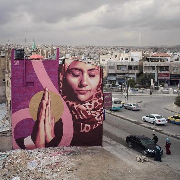 kevin ledo - street art avenue - pink mosaic - jordanie