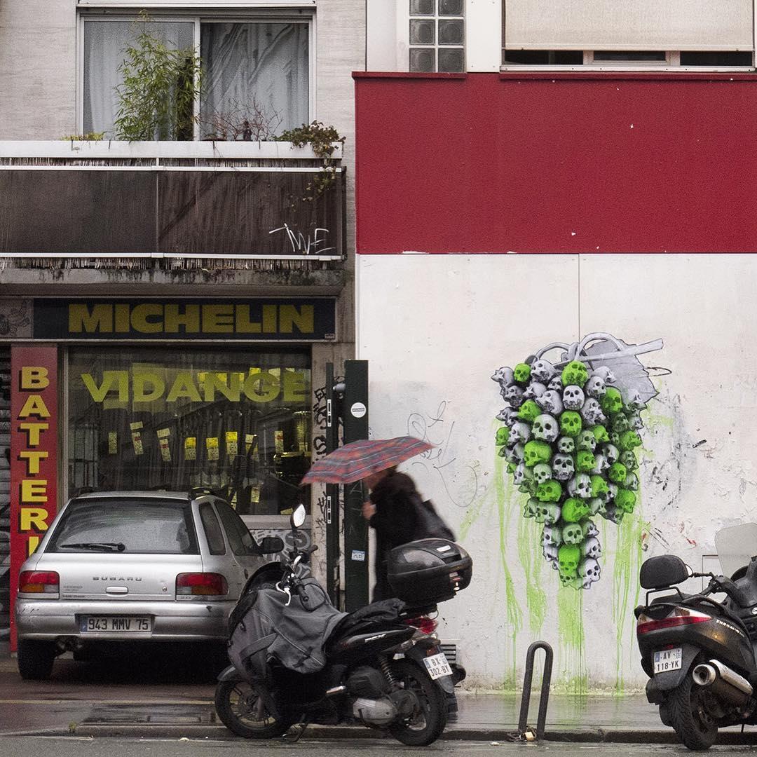 ludo - street art - skull - crane - paris