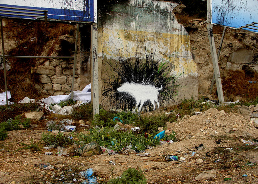 banksy - street art - graffiti - west bank - wet dog