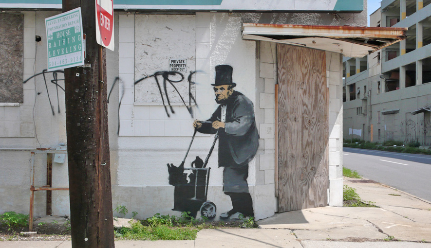 banksy - street art - graffiti - new orleans - abe lincoln