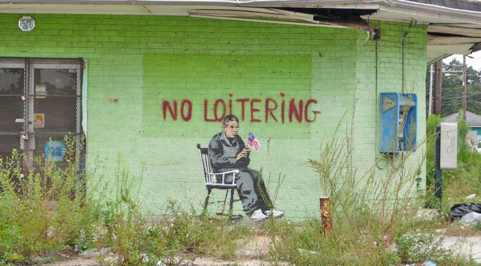 banksy - street art - graffiti - new orleans - no loitering