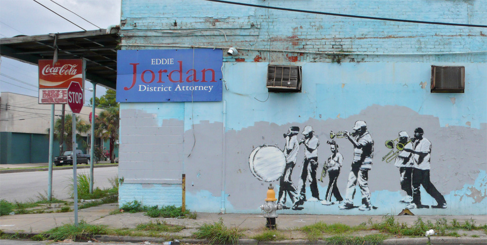 banksy - street art - graffiti - new orleans - marching jazz band
