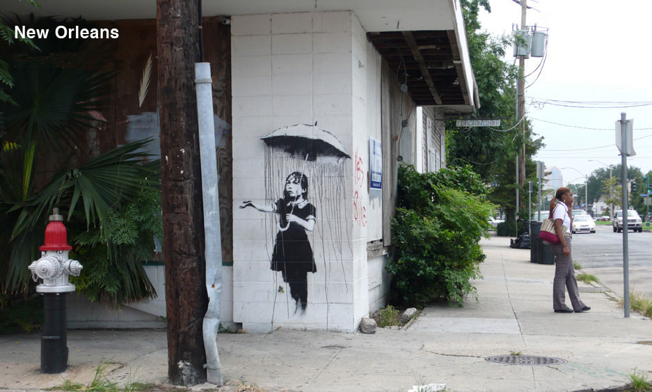 banksy - street art - graffiti - new orleans - rain girl