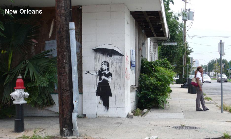 banksy - street art - graffiti - new orleans - rain girl