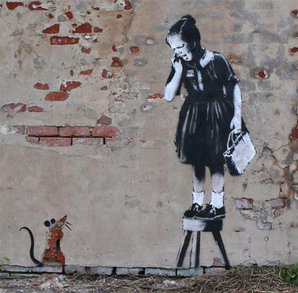 banksy - street art - graffiti - new orleans - rat girl