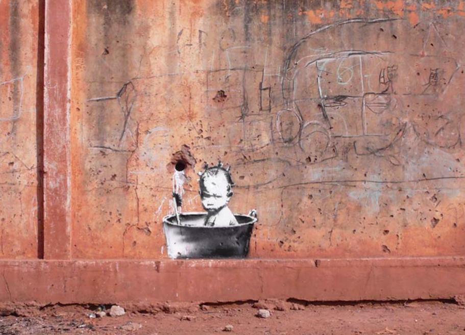 banksy - street art - graffiti - mali - baby bath