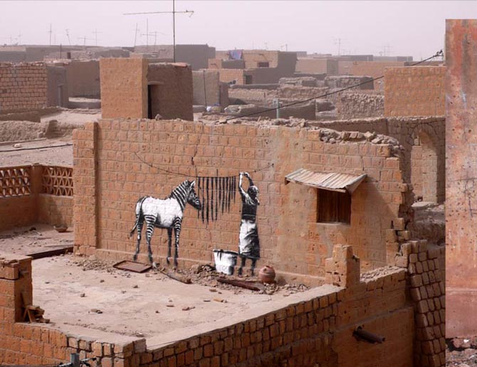 banksy - street art - graffiti - mali - zebra