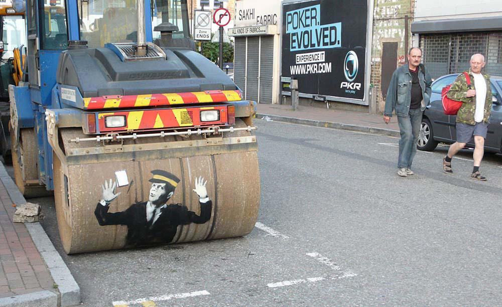 banksy - street art - graffiti - london - steam roller traffic warden