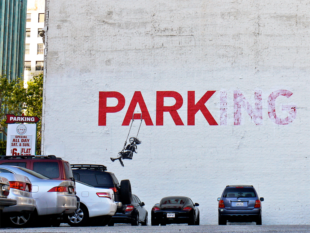 banksy - street art - graffiti - los angeles - parking