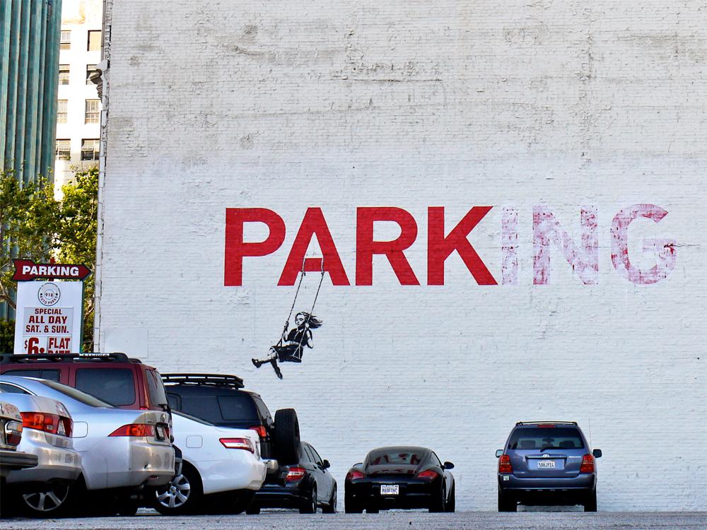 banksy - street art - graffiti - los angeles - parking