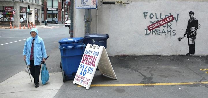 banksy - street art - graffiti - boston - follow your dream cancelled