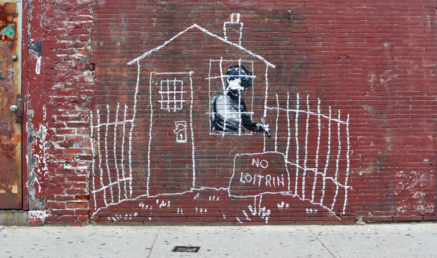 banksy - street art - graffiti - boston - no loitrin