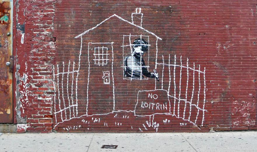 banksy - street art - graffiti - boston - no loitrin