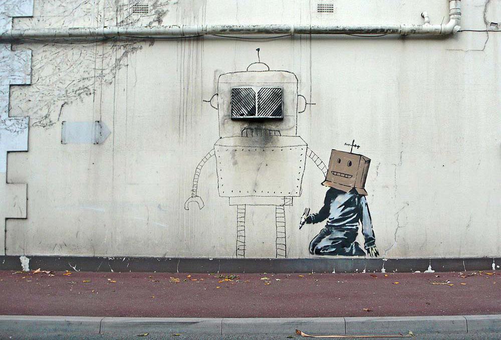banksy - street art - graffiti - torquay - robot - boxhead