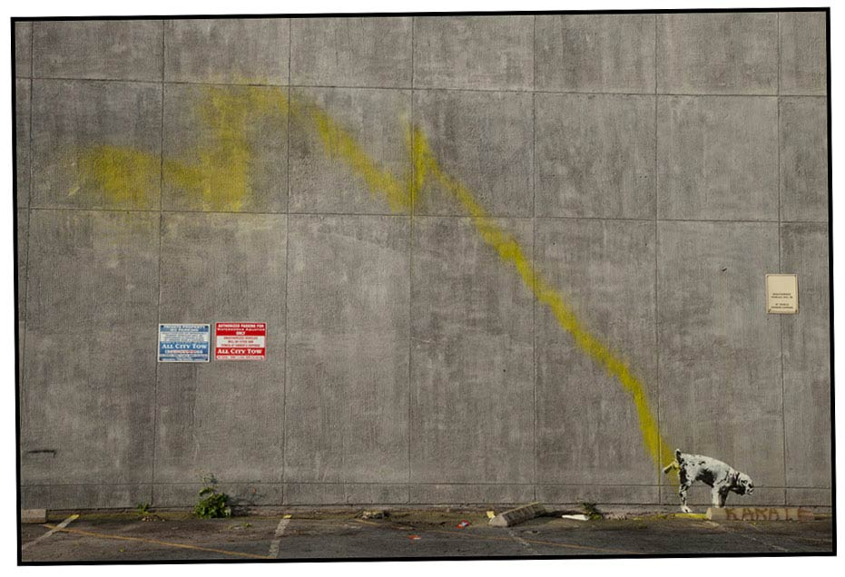 banksy - street art - graffiti - los angeles - dog
