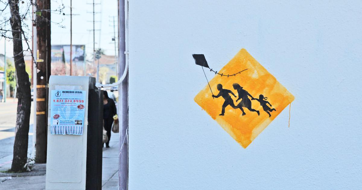 banksy - street art - graffiti - los angeles - kite