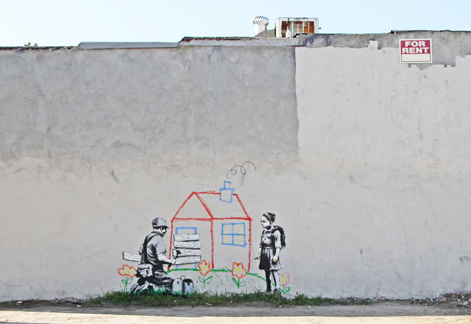banksy - street art - graffiti - los angeles - kid house