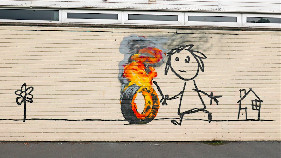 banksy - street art - graffiti - bristol - primary school