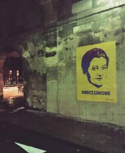merci simone - street art - affiche - nuit