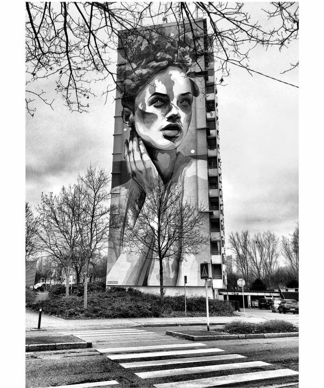 douron - street art - mosaic street art avenue - black and white - mulhouse